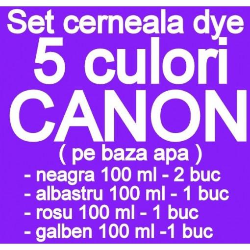 Pachet 5 culori Cerneala CANON DYE CISS PGI5 CLI8 PGI520 CLI-521 PGI525 CLI-526 PGI550 CLI551 pe baza de apa ( 2 X NEGRU + 1 X ALBASTRU + 1 X ROSU + 1 X GALBEN ) - 100 ml fiecare
