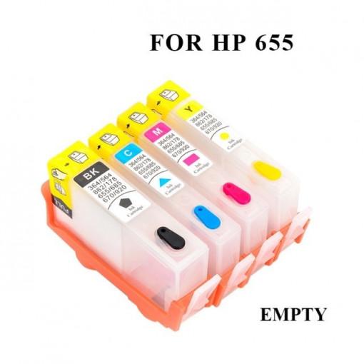 Set 4 cartuse reincarcabile pt HP655 HP-655 CZ109AE CZ110AE CZ111AE CZ112AE BLACK CYAN MAGENTA YELLOW