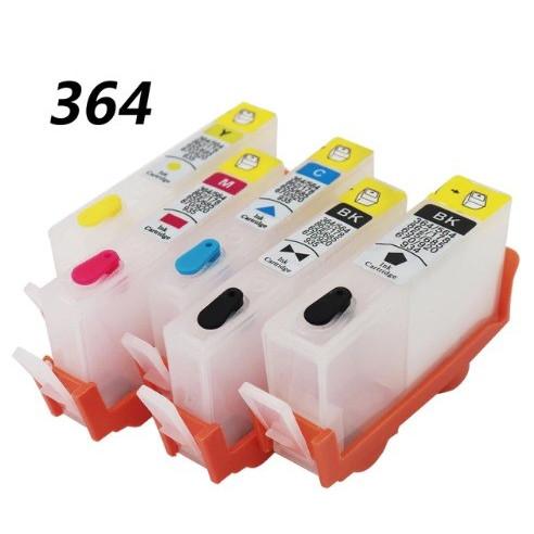 Set 5 cartuse reincarcabile pt HP-364 refilabile HP364 BLACK BK-PHOTO CYAN MAGENTA YELLOW