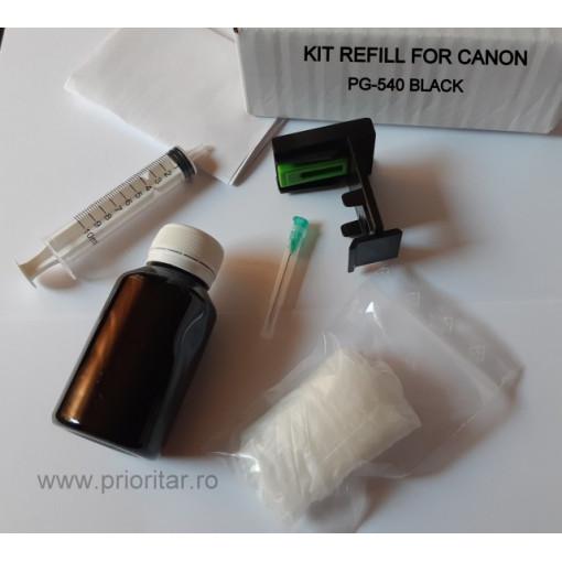 Kit refill reincarcare cartuse Canon PG-540 PG-540XL negru PG540 pt Canon PIXMA MG2250 MG4250 MX375 MX395 MX435