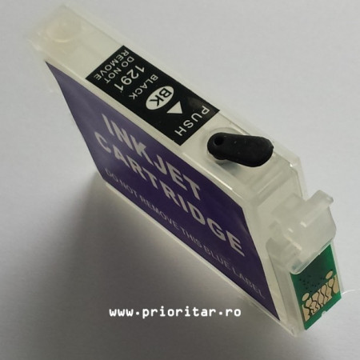 Cartuse autoresetabile EPSON T1291 reincarcabile refilabile ( Cartus T-1291 cip auto-resetabil negru )