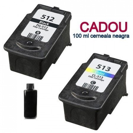 Pachet Cartuse compatibile CANON PG-512 negru + CL-513 color PG512 + CL513 pt Pixma MP250 MP260 MP270 MP280 MP490 MX320 MX330 MX420