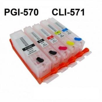 Cartuse reincarcabile pt CANON PGI570 CLI571 autoresetabile PGI-570 CLI-571 PLINE CU CERNEALA refilabile set 5 buc