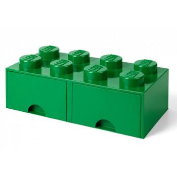 Cutie depozitare LEGO 2x4 cu sertare, verde