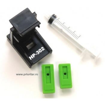 Dispozitiv incarcare si desfundare cartuse HP302 F6U68AE F6U67AE HP-302XL negre si color cu 2 ventuze si seringa