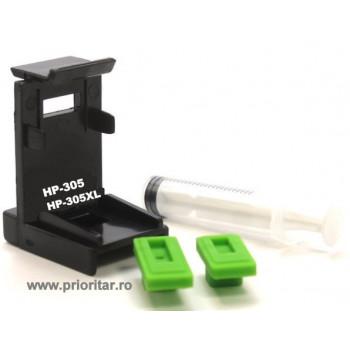 Dispozitiv incarcare si desfundare cartuse HP305 3YM60AE 3YM61AE HP-305XL negre si color cu 2 ventuze si seringa