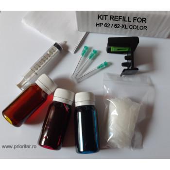Kit refill reincarcare si desfundare cartuse HP62 HP 62XL C2P06AE C2P07AE color