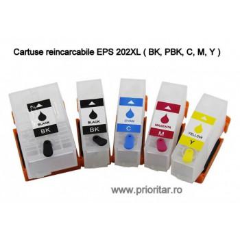 SET 5 cartuse reincarcabile pt EPSON 202XL autoresetabile T02G7 multipack Epson 202 XL ( BK, PBK, C, M, Y )