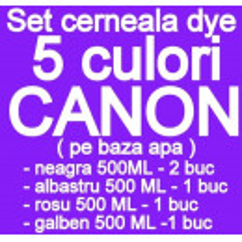 Pachet 5 culori Cerneala CANON DYE CISS PGI5 CLI8 PGI520 CLI-521 PGI525 CLI-526 PGI550 CLI551 pe baza de apa ( 2 X NEGRU + 1 X ALBASTRU + 1 X ROSU + 1 X GALBEN ) - 500 ml fiecare - TOTAL 2.5 LITRI