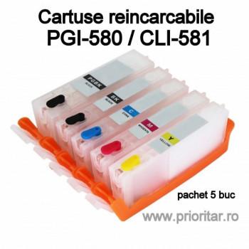Cartuse reincarcabile pt Canon PGI580 CLI581 refilabile PGI-580 CLI-581 set 5 buc
