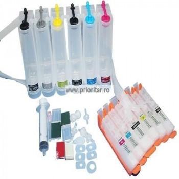 CISS 6 cartuse pt CANON PGI-550 CLI-551 PGI550 BK CLI551 BK C M Y GY 6 culori