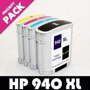 Pachet Cartus HP 940XL NEGRU + ROSU + GALBEN + ALBASTRU ( Cartuse HP940XL HP940 XL BLACK + MAGENTA + YELLOW + CYAN ) compatibile
