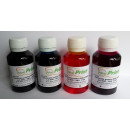 Set 4 X 100 ML Cerneala pt cartuse Brother LC980 LC985 LC1100 culori BK C M Y - total 400 ml