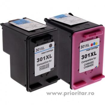 PACHET Cartus MARE negru HP301XL CH563EE + Cartus MARE color HP301XL CH564EE HP 301XL HP301 XL compatibile PROMOTIE !!!