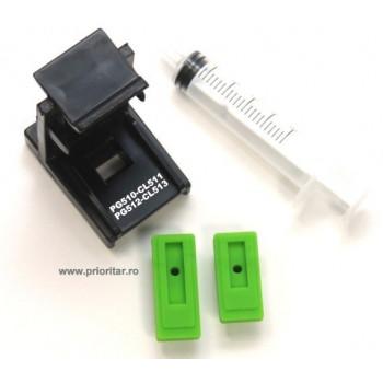 Dispozitiv incarcare - desfundare cartuse Canon PG510 CL511 PG512 CL513 cu 2 ventuze si seringa