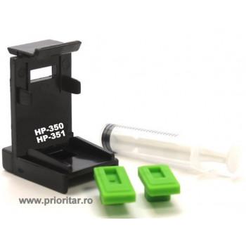 Dispozitiv incarcare si desfundare cartuse HP350 HP351 HP 350XL 351XL negre si color cu 2 ventuze si seringa