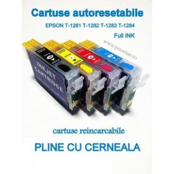 PACHET Cartuse PLINE CU CERNEALA autoresetabile EPSON T1281 T1282 T1283 T1284 reincarcabile refilabile ( Cartus T-1281 T-1282 T-1283 T-1284 cip auto-resetabil ) Epson BX305F S22 SX125 SX130 SX235W SX420W SX425W SX435W SX438W SX440W SX445W