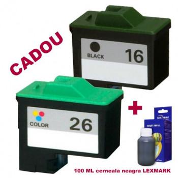 Pachet Cartus negru Lexmark-16 + Cartus color Lexmark-26 ( Lexmark16 10N0016 Lexmark 16 + Lexmark26 10N0026 Lexmark 26 ) compatibile