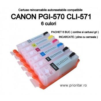 Cartuse reincarcabile pt CANON PGI570 CLI571 autoresetabile PGI-570 CLI-571 PLINE CU CERNEALA refilabile set 6 buc