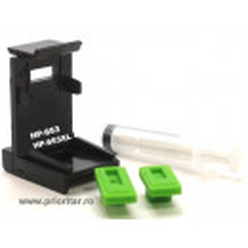 Dispozitiv incarcare si desfundare cartuse HP653 3YM75AE 3YM74AE HP-653XL negre si color cu 2 ventuze si seringa