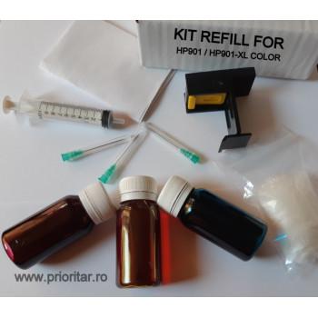 Kit refill reincarcare cartuse HP901 desfundare HP901-XL COLOR CC656AE TRICOLOR