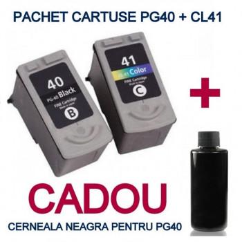 Pachet Cartuse pentru CANON PG40 + CANON CL41 + CADOU 100 ML cerneala BK ( PG-40 NEGRU CL-41 COLOR ) compatibile