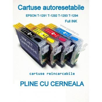 PACHET Cartuse PLINE CU CERNEALA autoresetabile EPSON T1291 T1292 T1293 T1294 reincarcabile refilabile ( Cartus T-1291 T-1292 T-1293 T-1294 cip auto-resetabil )