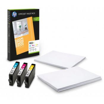 Set 3 cartuse color HP903 XL HP 903XL ( C, M, Y ) ORIGINALE + CADOU hartie foto