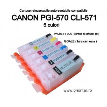 Cartuse reincarcabile pt CANON PGI570 CLI571 autoresetabile PGI-570 CLI-571 GOALE refilabile set 6 buc