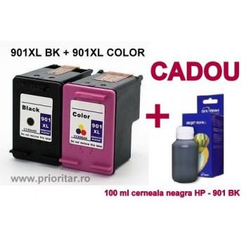 PACHET Cartus negru HP 901XL + Cartus color HP 901XL tricolor HP901-XL compatibile + 100 ML CADOU cerneala neagra