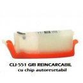 Cartus reincarcabil pt CANON CLI-551 GRI CLI551-GY gray refilabil gol cu cip autoresetabil