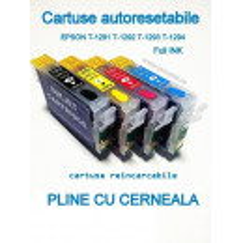 Cartuse autoresetabile PLINE CU CERNEALA EPSON T1293 reincarcabile refilabile Magenta ( Cartus T-1293 cip auto-resetabil rosu )