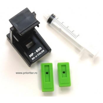 Dispozitiv incarcare si desfundare cartuse HP650 CZ101AE CZ102AE HP-650XL negre si color cu 2 ventuze si seringa