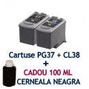 Pachet Cartus CANON PG37 + Cartus CANON CL38 + CADOU 100 ML cerneala BK ( PG-37 CL-38 compatibile ) iP1800 iP1900 iP2600 MP140 MP190 MP210 MP220 MP470 MX300 MX310