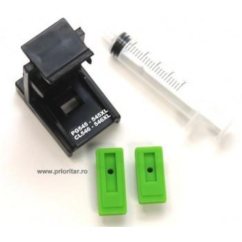 Dispozitiv incarcare - desfundare cartuse Canon PG545 CL-546 PG545-XL CL546-XL cu 2 ventuze si seringa