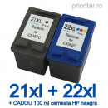 Pachet Cartus HP 21XL HP21 XL + HP 22XL HP22 XL compatibile + CADOU 100 ML cerneala neagra HP Deskjet 3915 D1360 D1415 D1460 F2180 F370 F380 F4190 Officejet 4310 4315 PSC 1400 1410 1415 1417