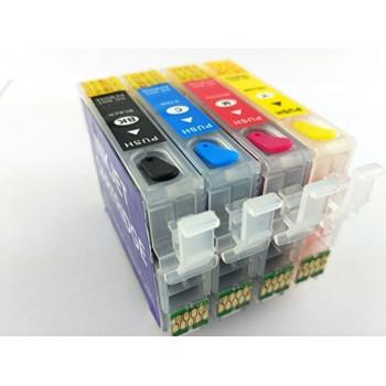 SET cartuse reincarcabile pt EPSON 16 16-XL autoresetabile T1631 T1632 T1633 T1634 Epson REFILABILE 16XL  BK+C+M+Y T-1631 1632 1633 1634