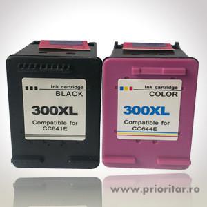 Pachet Cartus NEGRU HP300XL ( CC640EE / CC641EE ) + Cartus COLOR HP300XL ( CC643EE / CC644EE ) HP 300 XL HP-300-XL HP 300XL compatibile