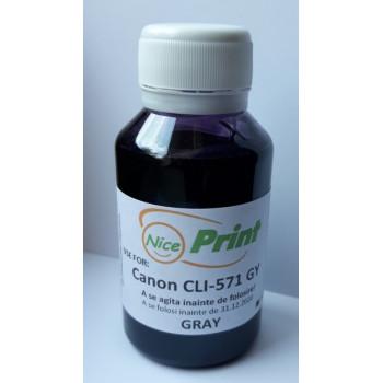 Cerneala gri pt cartuse CANON CLI-571 GRI CLI571-GY gray refilabile si sisteme ciss 100 ml