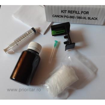Kit refill reincarcare cartuse Canon PG-560 PG-560XL negru PG560