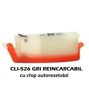 Cartus reincarcabil pt CANON CLI-526 GRI CLI526-GY gray refilabil gol cu cip autoresetabil