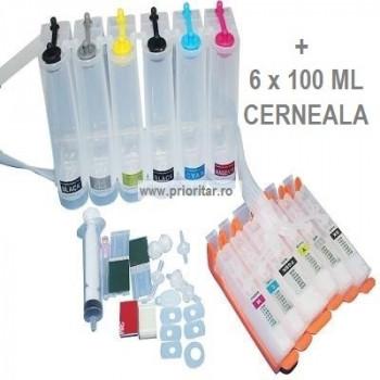 CISS 6 cartuse pt CANON PGI-525 CLI-526 PGI525 BK CLI526 BK C M Y GY 6 culori