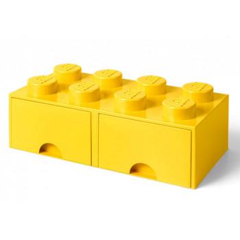 Cutie depozitare LEGO 2x4 cu sertare, galben