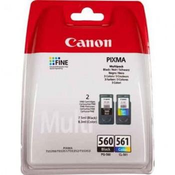 Set 2 cartuse imprimanta Canon PG560 negru CL561 COLOR ORIGINALE + CADOU 100 ml cerneala neagra PG560