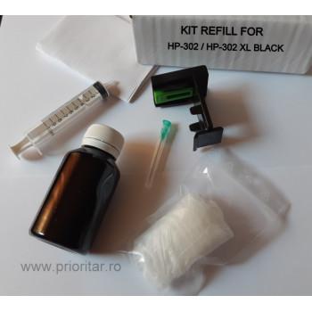 Kit refill reincarcare si desfundare cartuse HP302 F6U68AE HP-302XL negre