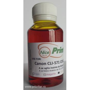Cerneala GALBENA pentru cartuse CANON CLI-571 YELLOW refilabile CLI571 - 100 ml