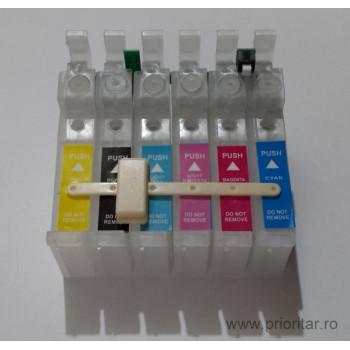 SET Cartuse rezerva pentru Ciss Epson T801 T802 T803 T804 T805 T806 ( T-801 T-802 T-803 T-804 T-805 T-806 ) Epson Stylus Photo PX-700W R265 R285 R360 RX-560 RX-585  cu  BUTON DE RESETARE !! PRET PROMO !!