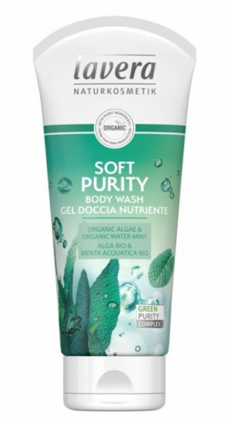 Gel de dus Soft Purity cu alge si menta, 200ml - LAVERA