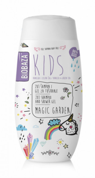 Sampon & gel de dus natural pentru copii Magic Garden, 250 ml - BIOBAZA
