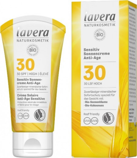 Crema protectie solara inalta FPS 30, piele sensibila, 100 ml - LAVERA